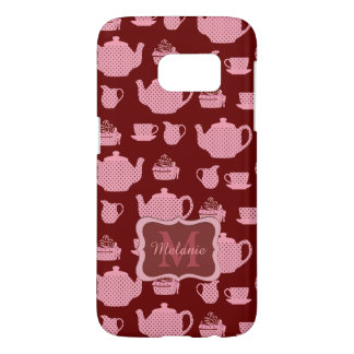 Pink Polka Dot Tea Set on Burgundy Samsung Galaxy S7 Case