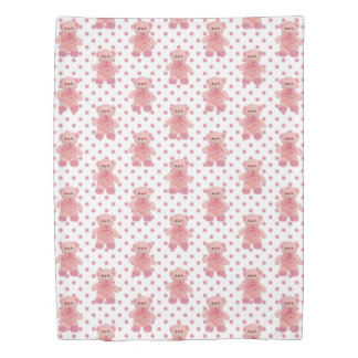 Pink Polka Dot & Teddy Bears Duvet Cover