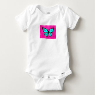 PINK POLKA DOT TURQUOISE BUTTERFLY BABY OUTFIT BABY ONESIE