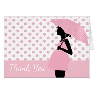 Pink Polka Dot Umbrella Baby Shower Thank You Card