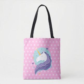 Pink Polka Dot Unicorn Tote Bag