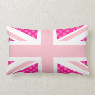 Pink Polka Dot Union Jack Lumbar Pillow