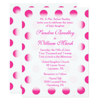 "Pink Polka Dot Wedding 6.5"" X 8.75"" Invitation Card"