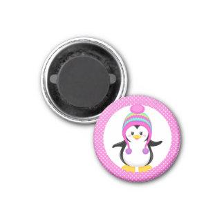 Pink Polka Dot Winter Penguin Girl 1 Inch Round Magnet