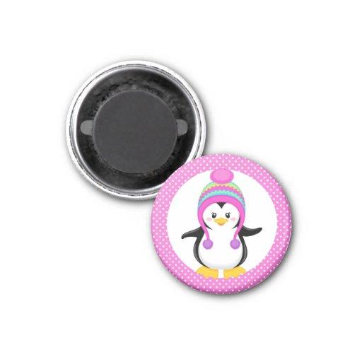 Pink Polka Dot Winter Penguin Girl Refrigerator Magnet