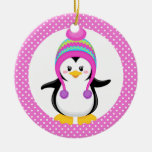 Pink Polka Dot Winter Penguin Girl Round Ceramic Ornament