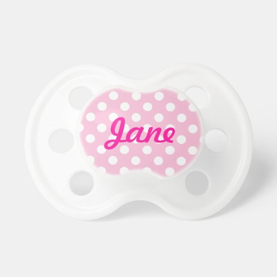 Pink Polka Dot with Name Baby Pacifiers