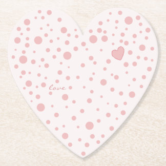 Pink Polka Dots and a Heart Paper Coaster
