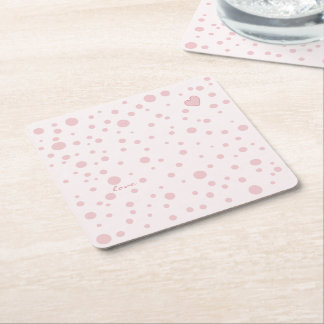 Pink Polka Dots and a Heart Square Paper Coaster