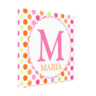 Pink Polka Dots and Initial Wall Decor