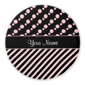 Pink Polka Dots and Stripes On Black Background Ceramic Knob