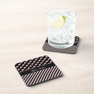 Pink Polka Dots and Stripes On Black Background Coaster