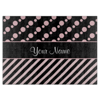 Pink Polka Dots and Stripes On Black Background Cutting Board
