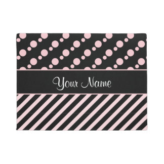 Pink Polka Dots and Stripes On Black Background Doormat