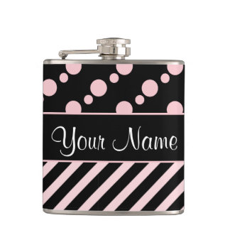 Pink Polka Dots and Stripes On Black Background Hip Flask