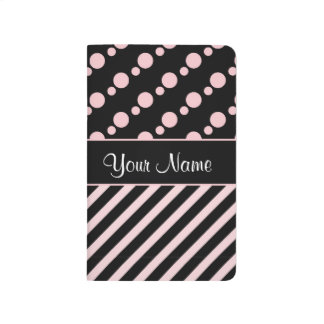Pink Polka Dots and Stripes On Black Background Journal