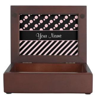 Pink Polka Dots and Stripes On Black Background Keepsake Box