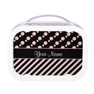 Pink Polka Dots and Stripes On Black Background Lunchboxes
