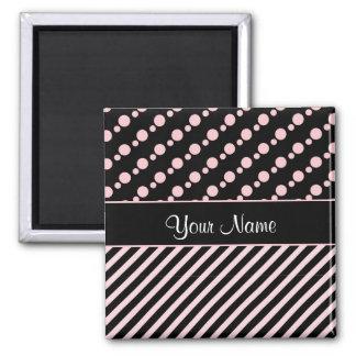 Pink Polka Dots and Stripes On Black Background Magnet