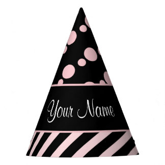 Pink Polka Dots and Stripes On Black Background Party Hat