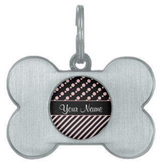 Pink Polka Dots and Stripes On Black Background Pet Tag