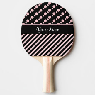 Pink Polka Dots and Stripes On Black Background Ping Pong Paddle