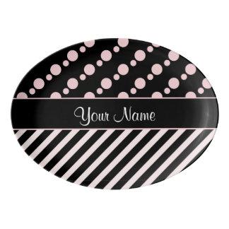 Pink Polka Dots and Stripes On Black Background Porcelain Serving Platter