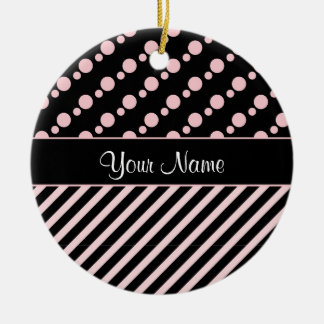 Pink Polka Dots and Stripes On Black Background Round Ceramic Ornament