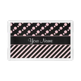 Pink Polka Dots and Stripes On Black Background Serving Tray