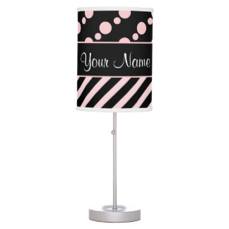Pink Polka Dots and Stripes On Black Background Table Lamp