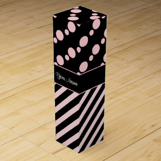 Pink Polka Dots and Stripes On Black Background Wine Box