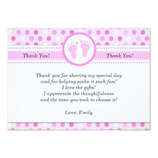 Pink Polka Dots Baby Girl Shower Thank You Card