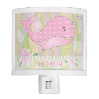 Pink Polka Dots Baby Whale Night Lite