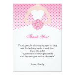 Pink Polka Dots Bridal Shower Thank You Card Announcement