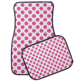 Pink Polka Dots Car Mat