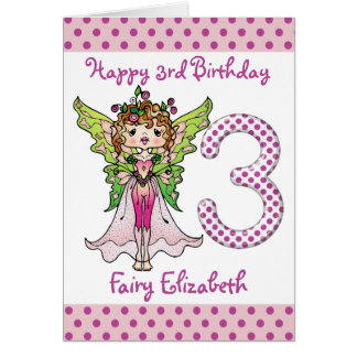 Pink Polka Dots Fairy Princess 3rd Birthday Card