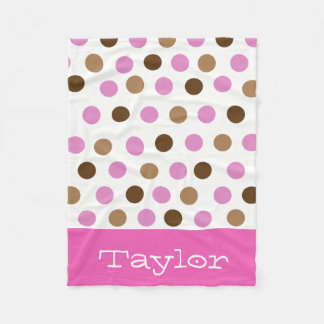 Pink Polka Dots Fleece Blanket