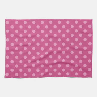 Pink polka dots fuchsia kitchen towel