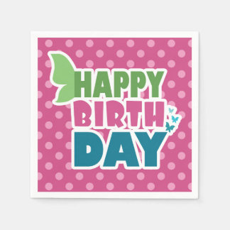 Pink polka dots happy birthday paper napkins
