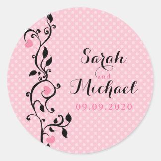 Pink Polka Dots Heart Vine Wedding Classic Round Sticker