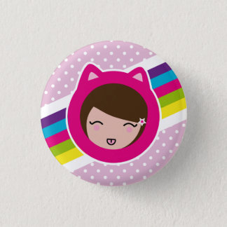 pink polka dots lilith's 1 inch round button