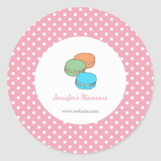Pink Polka Dots Macaron CUTE KAWAII STICKER label