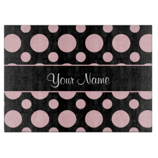 Pink Polka Dots On Black Background Cutting Board