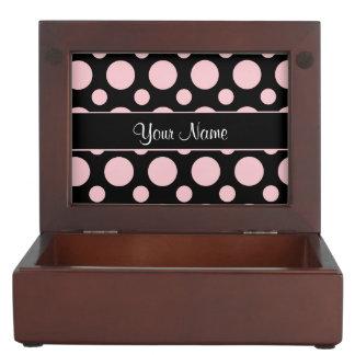 Pink Polka Dots On Black Background Keepsake Box