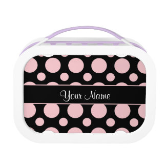 Pink Polka Dots On Black Background Lunch Boxes