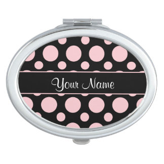 Pink Polka Dots On Black Background Makeup Mirror