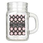 Pink Polka Dots On Black Background Mason Jar