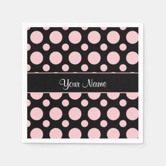 Pink Polka Dots On Black Background Paper Napkin