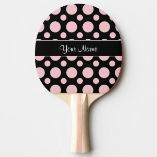 Pink Polka Dots On Black Background Ping Pong Paddle