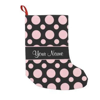 Pink Polka Dots On Black Background Small Christmas Stocking